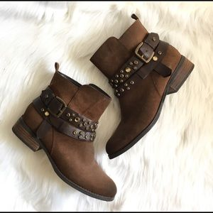 Guess Brown Studded Buckle Ankle Boots 9.5